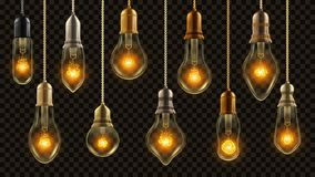 电灯泡葡萄酒集合传染媒介 发光的亮光灯 透明3D现实电减速火箭的顶楼或Steampunk样式 库存例证
