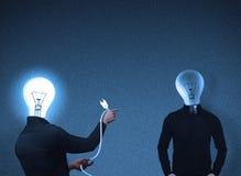 电灯泡顶头交往人员 库存照片
