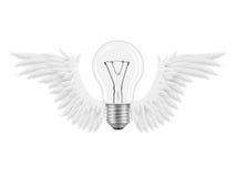 电灯泡飞过想法 库存照片