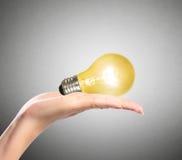 电灯泡,创造性的电灯泡想法在手上 免版税库存图片