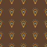 电灯泡,想法标志无缝的样式 库存图片