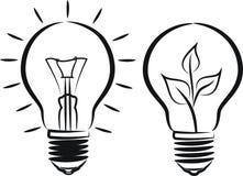 电灯泡-光和eco 免版税库存图片