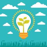 电灯泡绿色能量-例证企业概念 免版税库存照片
