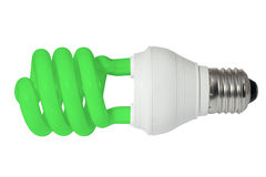 电灯泡cfl能源萤光绿灯节省额 库存照片