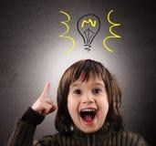 电灯泡exellent想法说明的孩子 图库摄影