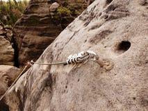 电烙扭转的绳索被舒展在登山人补丁的岩石之间通过ferrata 在岩石固定的绳索 图库摄影