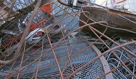 电烙材料入与m的再造废物汇集中心 免版税库存图片