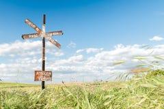 电烙签署蓝天背景和绿色领域 免版税图库摄影