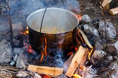 电烙罐用在灼烧的火的食物 在金属大锅的食物我 免版税图库摄影
