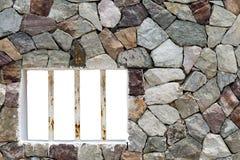 电烙金属棒窗口被隔绝的和花岗岩石头,概念自由 库存照片