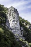 电烙门自然公园,在岩石雕刻的Decebal的头 免版税库存图片