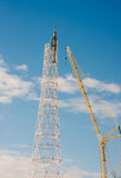 电烫,俄罗斯, 2月, 06日 2016年建筑新的通信 库存照片