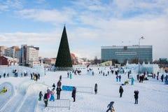 电烫,俄罗斯, 2月, 06日 2016年:冰冷的新年` s镇 库存图片