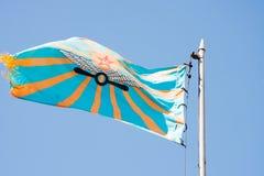 电烫,俄罗斯, 7月04日 2015年:举的航空旗子 免版税图库摄影