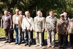 电烫,俄罗斯, 7月04日 2015年:在数字花费的人们在会议上 免版税图库摄影