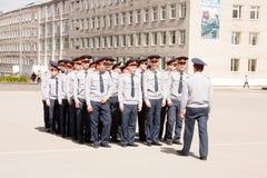电烫,俄罗斯, 7月04日 2015年:联邦服务学院的军校学生  免版税库存照片