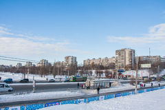 电烫,俄罗斯2月, 06日 2016年:冬天都市风景 图库摄影