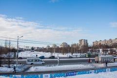 电烫,俄罗斯2月, 06日 2016年:冬天都市风景 库存图片