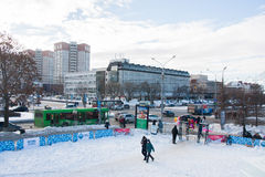 电烫,俄罗斯2月, 06日 2016年:冬天都市风景 免版税库存图片