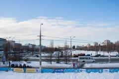 电烫,俄罗斯2月, 06日 2016年:冬天都市风景 库存照片
