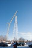 电烫,俄罗斯- 2月, 06 2016年建筑新的通信 图库摄影