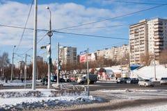电烫,俄罗斯- 2月, 06 2016年:冬天都市风景 免版税库存图片