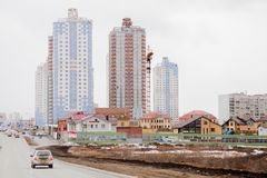 电烫,俄罗斯- 4月16 2017年:与高ris的住宅复合体 库存图片