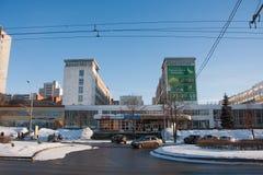 电烫,俄罗斯- 2016年3月13日:城市冬天风景 库存图片