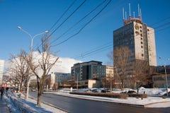 电烫,俄罗斯- 2016年3月13日:城市冬天风景 免版税库存图片
