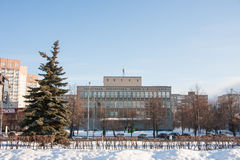 电烫,俄罗斯- 2016年3月13日:城市冬天风景 库存照片