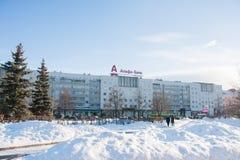 电烫,俄罗斯- 2016年3月13日:城市冬天风景 图库摄影