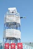 电烫,俄罗斯- 2013年6月11日:框架塔与假去的 库存照片