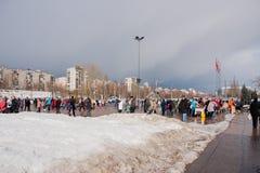 电烫,俄罗斯- 2016年3月13日:正方形的很多人民 免版税库存图片