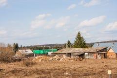 电烫,俄罗斯- 4月16 2016年:木房子 库存照片