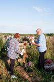 电烫,俄罗斯- 7月13 2016年:男人和妇女绘木阴级射线示波器 库存图片