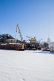 电烫,俄罗斯- 3月11 2017年:造船厂在死水河 库存照片