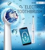 电牙刷广告 导航3d与充满活力的刷子的例证和在电话屏幕上的流动牙齿app  皇族释放例证