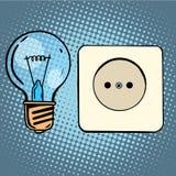 电电灯泡和插口 库存例证