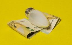 电白炽灯和欧洲笔记关于一黄色backgr 免版税库存图片