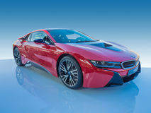 电的BMW i8/涡轮汽车 免版税库存照片