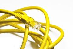电缆互联网黄色 免版税库存照片