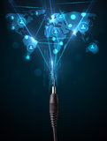 从电缆出来的社会网络象 库存图片