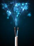 从电缆出来的社会网络象 免版税库存照片