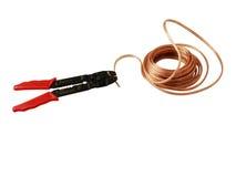 电缆切割工电汇 库存照片