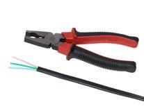 电缆和钳子 库存图片