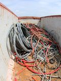 电缆在容器缠结了 免版税库存照片