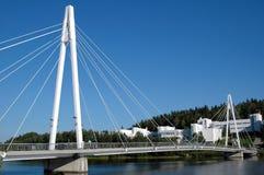 电缆在芬兰坚持在Jyvasjarvi的桥梁 库存照片