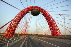 电缆坚持的桥梁 特写镜头 免版税库存照片