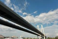 电缆坚持的桥梁 免版税库存照片