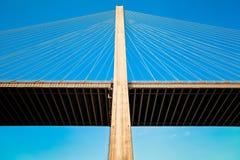 电缆坚持的桥梁 库存图片